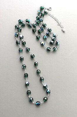 Green aurora glass bead crystal necklace .. opera length long Czech AB jewelry