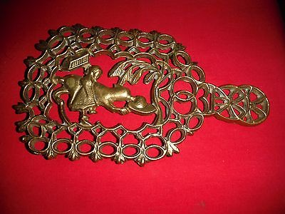 "Antique Brass Sad Iron Trivet Girl Dog Chasing Hat #107 Solid Brass 6""x10.7"""
