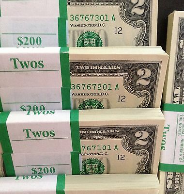 Lot of 25-$2 Bills CURRENCY~TWO DOLLAR US NOTES CRISP MONEY UNCIRCULATED! RARE!