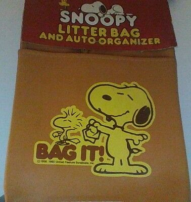 Vintage Peanuts Snoopy Determined Litter Bag New
