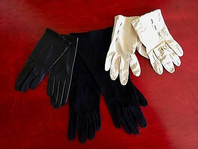 Lot of 3 Vintage Women's Kid Leather cream GLOVES, & black leather