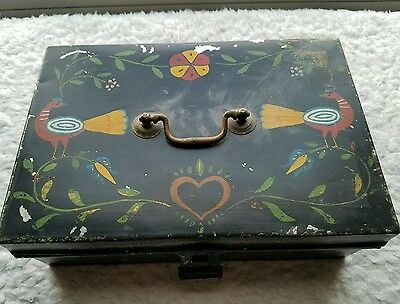 Toleware Metal Spice Box 6 Small Lidded Tins Folkart Decoration Hand Painted