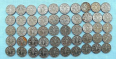 Lot of 50   Canadian 5 cent George VI Coins