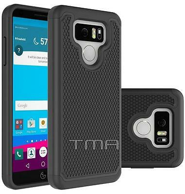 Fits LG G6 Case Shockproof Rugged Rubber Impact Hybrid Armor Cover - Black
