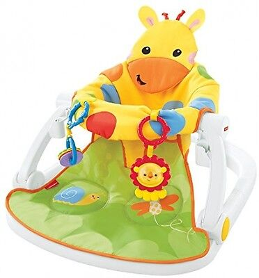 Fisher Price Giraffe Sit Me Up Floor Upright Portable Baby Seat w Activity Toys