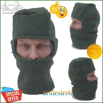 """1/6 Scale Male Female Beanie Cap Hat DIY Mask Cover Green For 12"""" Action Figure"""