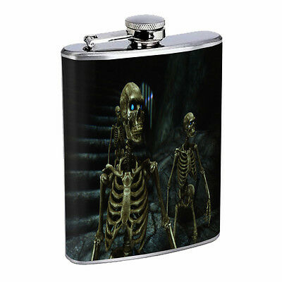 Skeleton Theme D2 Flask 8oz Stainless Steel Hip Drinking Whiskey