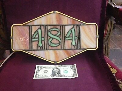 "Antique, Stained Glass,Address Box, ""484"", lighted, amber&green, 1900-1940, USA"