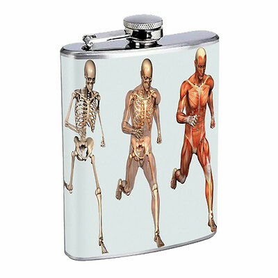 Skeleton Theme D7 Flask 8oz Stainless Steel Hip Drinking Whiskey