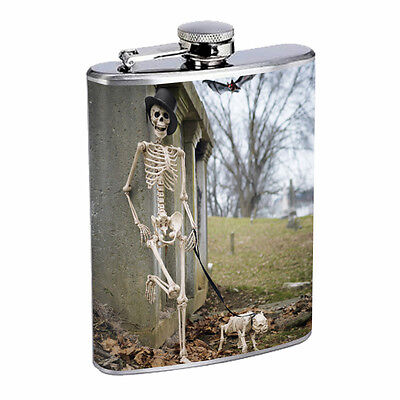 Skeleton Theme D8 Flask 8oz Stainless Steel Hip Drinking Whiskey