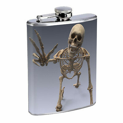 Skeleton Theme D9 Flask 8oz Stainless Steel Hip Drinking Whiskey