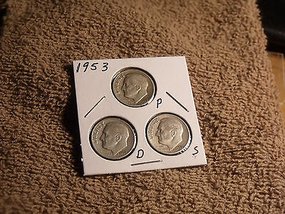 1953-P-D-S Roosevelt Dime Trio  average circulated