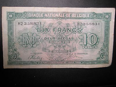 National Bank Of Belgie 10 Francs  Paper Money - 9 Photos Provided