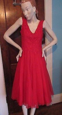 Vtg 1950's Red Organdy Evening Dress Prom Full Skirt Lace Bodice