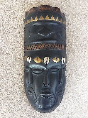 Wood Carved African Mask From Ghana With Brass And Shell Details