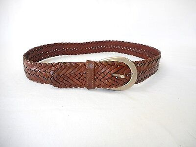 COACH Authentic Women's   British Tan Leather Braided Belt  M