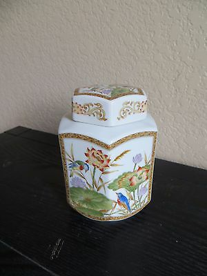 Chinese porcelain tea caddy,beautiful  porcelain jar, pot Birds/Flowers