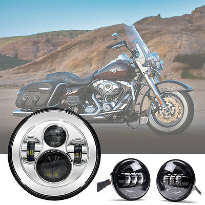 7'' Round LED Headlight Chrome +4.5'' 30W Passing Fog Light for Harley Davidson