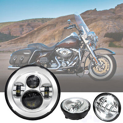 7'' Silver Round LED Headlight+4.5'' Auxiliary Passing Fog Light for Harley