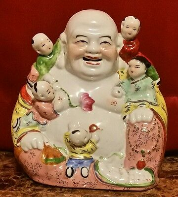 chinese famille rosr porcelain buddha with kids 8""