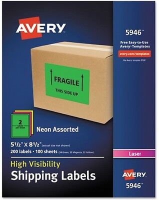 Avery Neon Shipping Label, Laser, 5-1/2' X 8-1/2', Neon Assorted, 200 Per Box