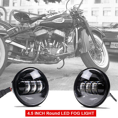 2X Black 4.5'' 30W LED Motorcycle fog Lights passing lamps for Harley Davidson