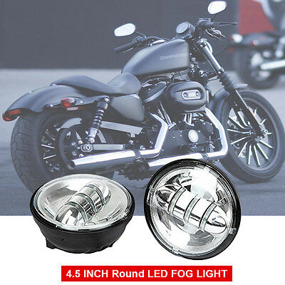 2X 4.5'' Chrome 30W LED Motorcycle fog Lights passing lamps for Harley Davidson