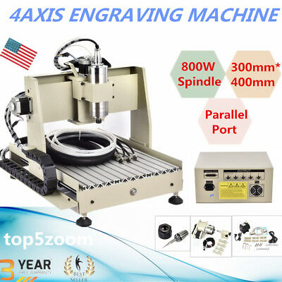 4 Axis 3040 CNC Router Engraver 800W VFD Engraving Drilling Machine Ball Screw