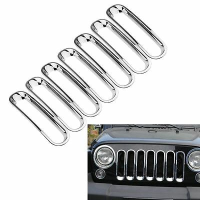 7pcs Silver Front Insert Mesh Grille Covers Trim For 2007-2017Jeep JK Wrangler