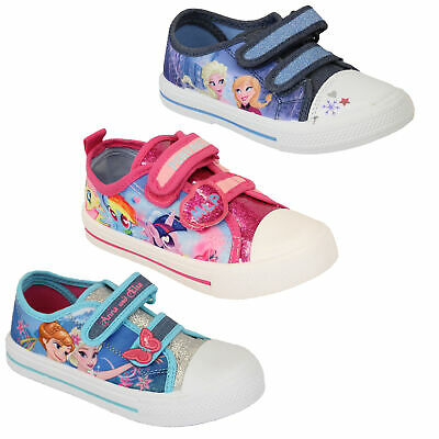 girls kids ANNA ELSA paw patrol canvas my little pony trainers pumps shoes new