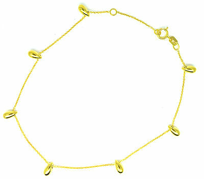 9ct Yellow Gold Trace Chain Anklet/ Ankle Chain with Seven Teardrops        7135