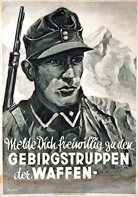 German WW2 Mountain Troops Waffen SS Officer large Poster