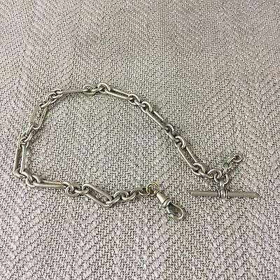 Antique Silver Plated Watch Chain Pocket T Bar Link Victorian / Edwardian Vintag
