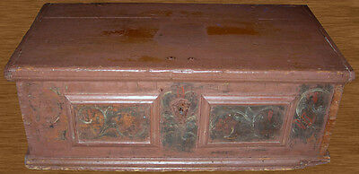 18th Century Dutch Pennsylvania Hand-Painted Trunk-Awesome Etched Cornstalk Lock