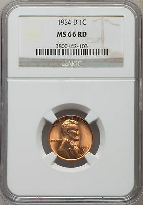 NGC MS66 Red 1954-D Lincoln Wheat Penny *** Reverse Die Crack ***