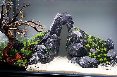 AQUARIUM BLACK/GREY NATURAL STONE ROCK FOR FISH TANK IWAGUMI MALAWI 15Kg