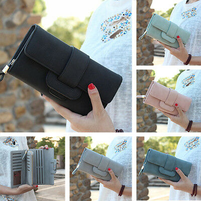 Women Leather Bifold Wallet Clutch Card Holders Lady Purse Long Handbag бумажник
