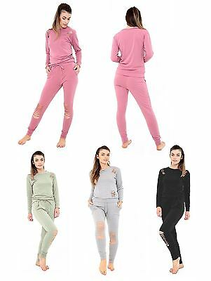 Women Ripped Lounge wear Women Distressed Tracksuit Outfit Set New UK S-3XL