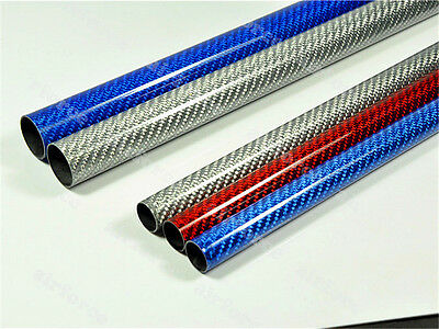 2pc 3K Carbon Fiber Tube  OD12 *ID10 *500  Length Glossy Surface blue/red/silver