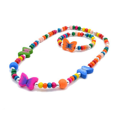 1 Set Girl's Fashion Butterfly Wood Beads Necklace Bracelet Children Jewelry
