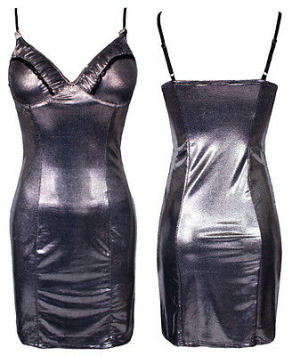 Womens Girls Silver Shiny Metallic Strappy Busty Fitted Mini Bodycon Party Dress
