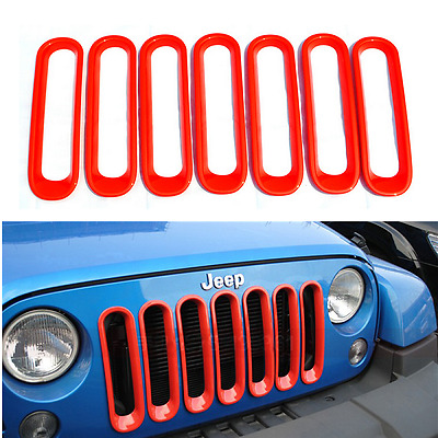 7pcs Bright Red Front Insert Mesh Grilles Cover Trim For 07-17 Jeep JK Wrangler