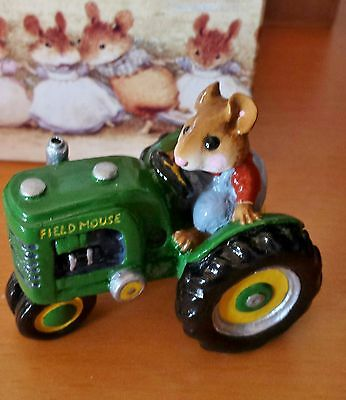 """Wee Forest Folk M-133 """"Field Mouse"""" Green Tractor RETIRED Mint"""