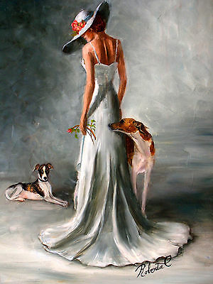 Whippet limited edition print dog art with double designer mat