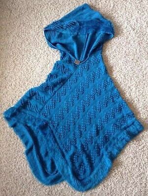 The Good Bead Coco & Carmen Hooded Pull Over Knit Poncho - Blue