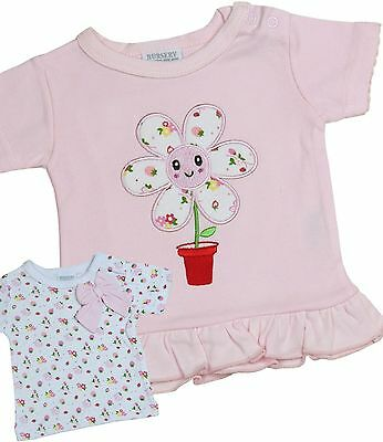 BabyPrem Baby Clothes Girls Pack of 2 Pink Cotton T-shirts Tops Tees 0 - 6months
