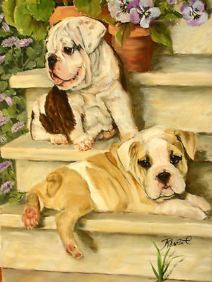 "Bulldog on steps  dog art print size 11"" x 14"""