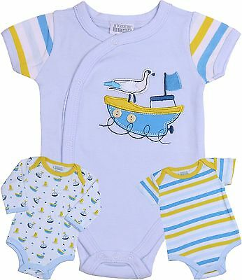 BabyPrem Baby Boys Clothes Pack 3 Bodysuits Vests One-Pieces Tops Newborn - 6m