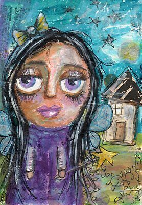 Original Painting 5 x 7 Fairy Mixed Media Whimsical Art by FAiRyPiGGleS