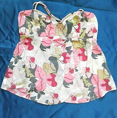 maternity size medium swim top white with flowers ALL WET!